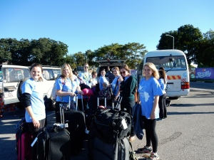 Arrival at Lusaka airport - getting to our bus